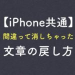 【iPhone共通】間違って消しちゃった文章の戻し方
