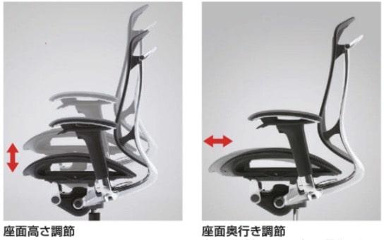 座面の高さに加え、座面の奥行きまで調整