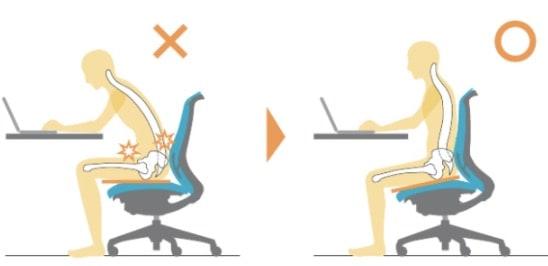 シルフィーはリクライニングと同時に、座面も調整することができます。